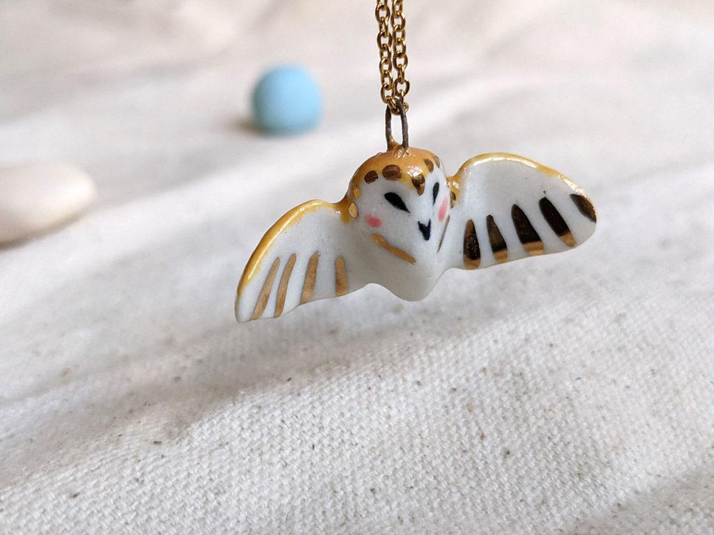 clay animal  - barn owl wings pendant porcelain