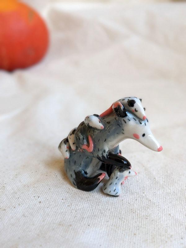 opossum mom figurine porcelain