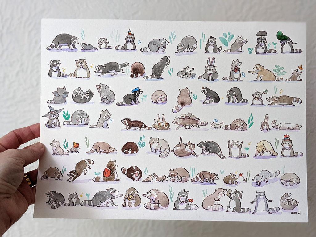 dessin de ratons laveurs - aquarelle 73 ratons laveurs raccoons