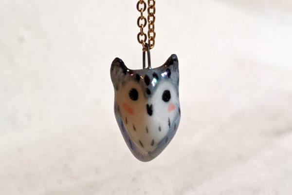 horned owl pendant porcelain