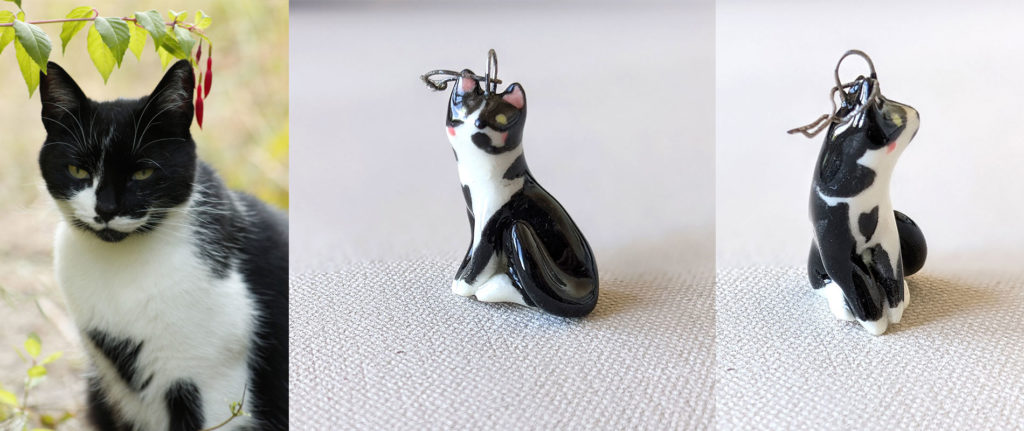 porcelain cat pendant custom made