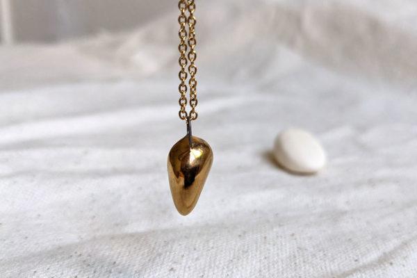 golden owl porcelain pendant