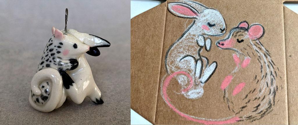 Bunny and Opossun pendant custom handmade porcelain jewelry