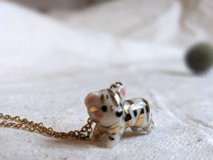 porcelain gold tiger pendant