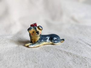 Yorkie bow porcelain figurine