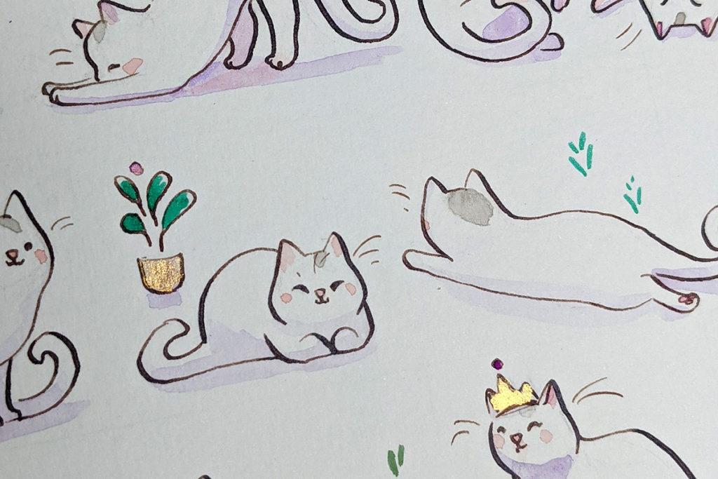 cat portrait gold paint