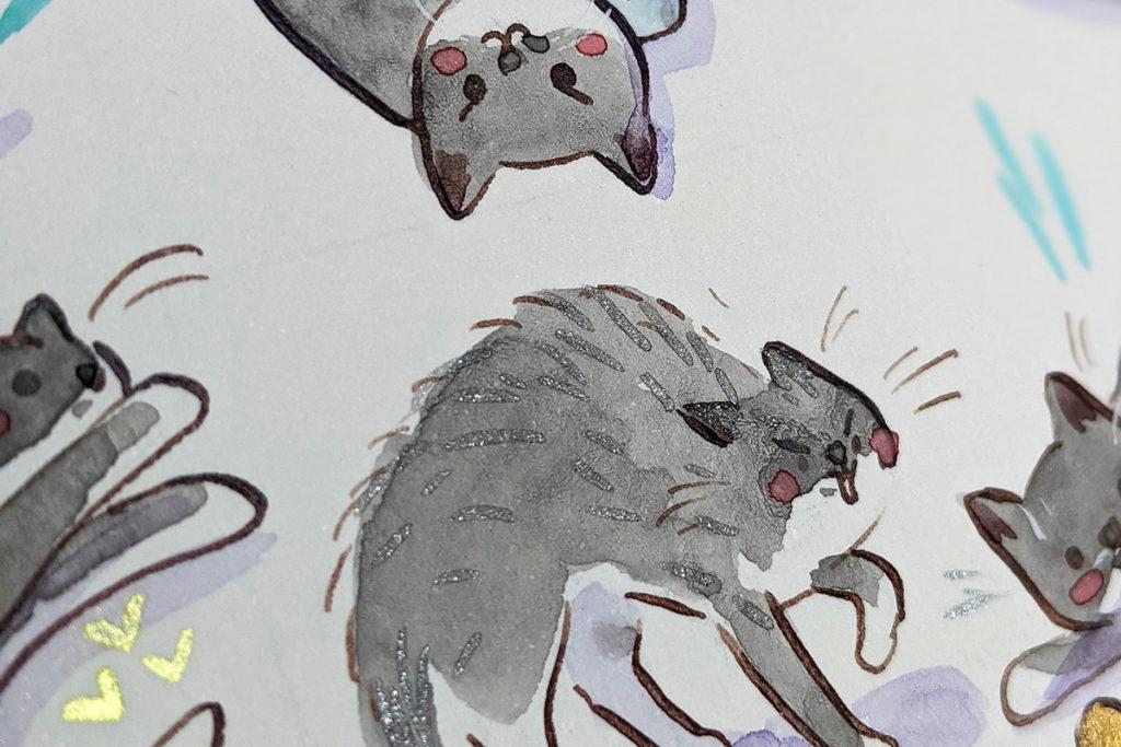détail portrait chat gris