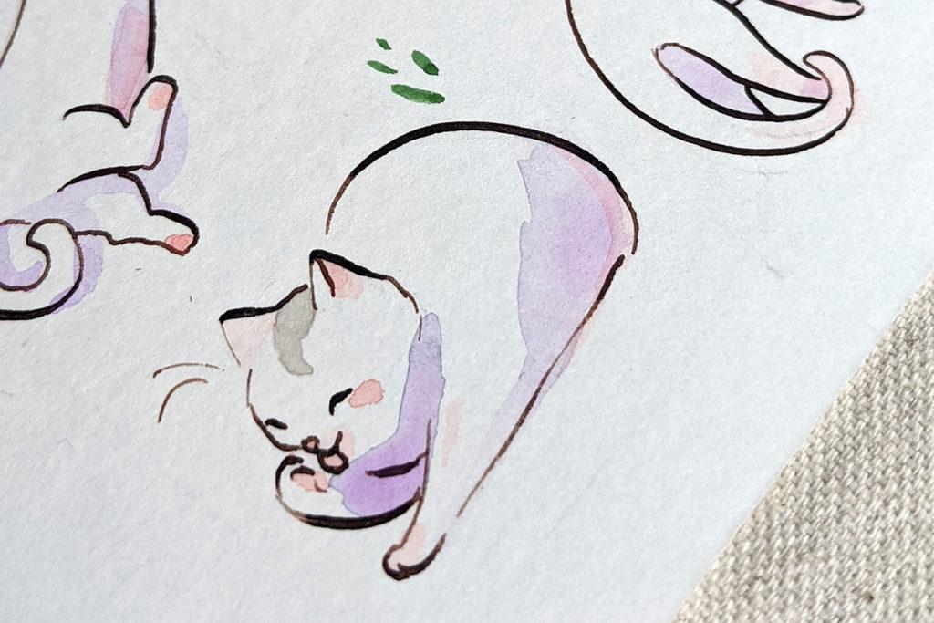 watercolor cat portrait detail