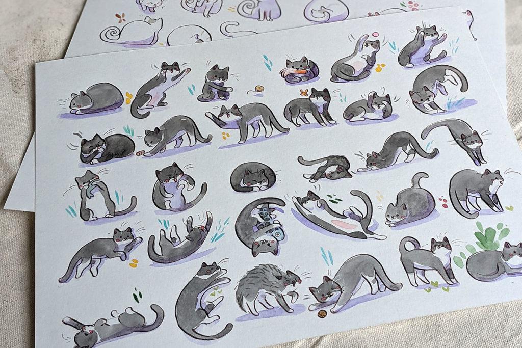 portrait chat gris motif