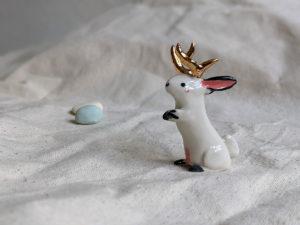gold antlered jakcalope porcelain figurine
