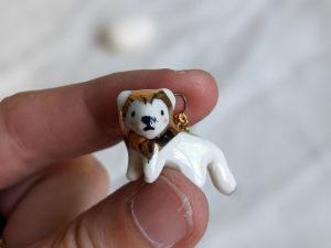 porcelain gold lion pendant