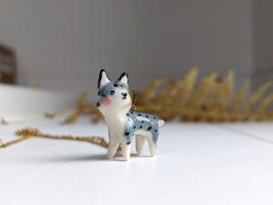porcelain lynx pendant