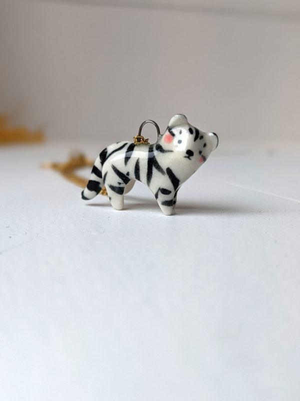 porcelain white tiger pendant
