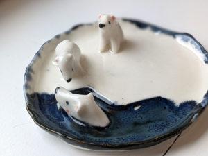 porcelain jewelry tray polar bear family