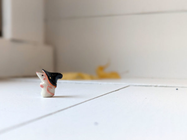 porcelain witch mouse figurine
