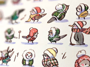 Birds in christmas sweaters watercolor painting