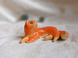 porcelain cat figurine red longhair orange