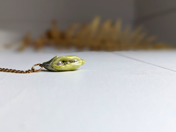 pea pod porcelain pendant