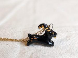 Black Phillip porcelain pendant with gold
