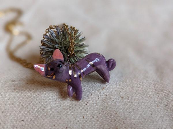 porcelain sphynx cat pendant