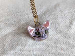 porcelain pendant sphynx cat