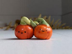 pumpkin couple porcelain figurine