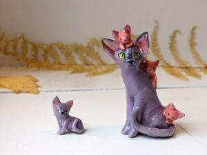 sphynx cat porcelain figurine