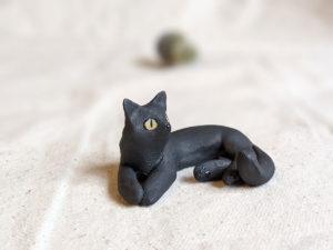matte black cat void kitty porcelain figurine