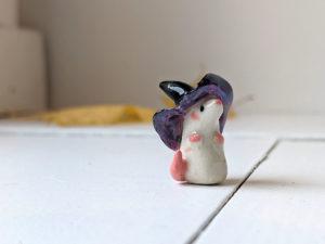 porcelain witch mouse figurine purple