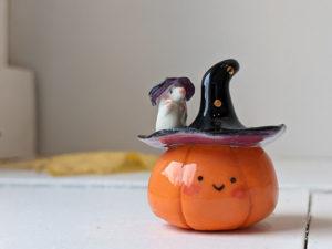 citrouille sorcière et souris figurine